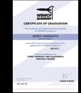 SW国際トレーナー資格修了証